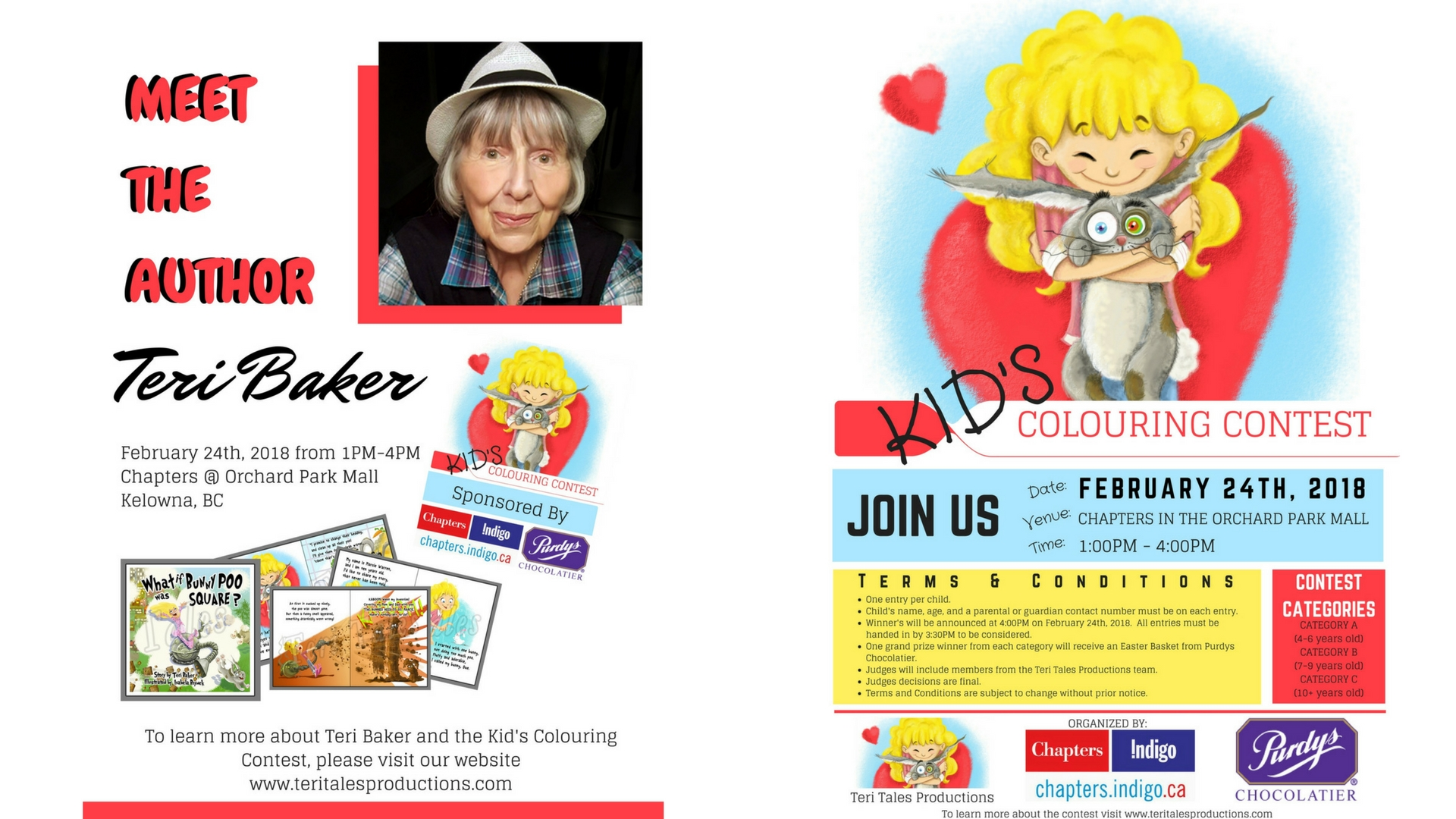 Event posters - meet the author and kid's colouring contest